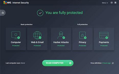Capture d'écran AVG Internet Security