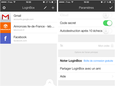 Capture d'écran LoginBox iOS