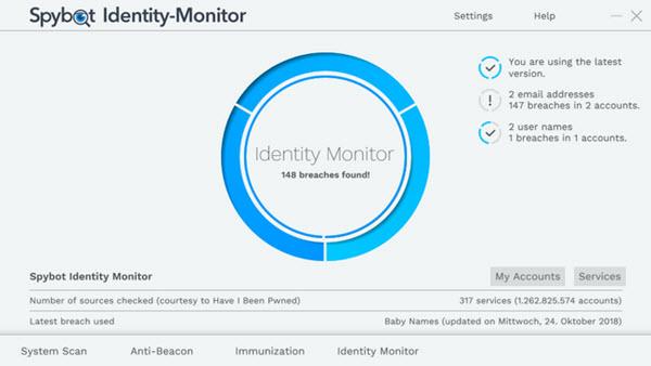 Capture d'écran Spybot Identity Monitor
