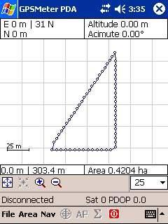 Capture d'écran GPSMeter PDA