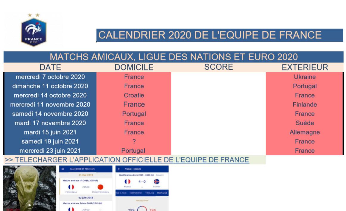 Capture d'écran Calendrier Equipe de France de Football