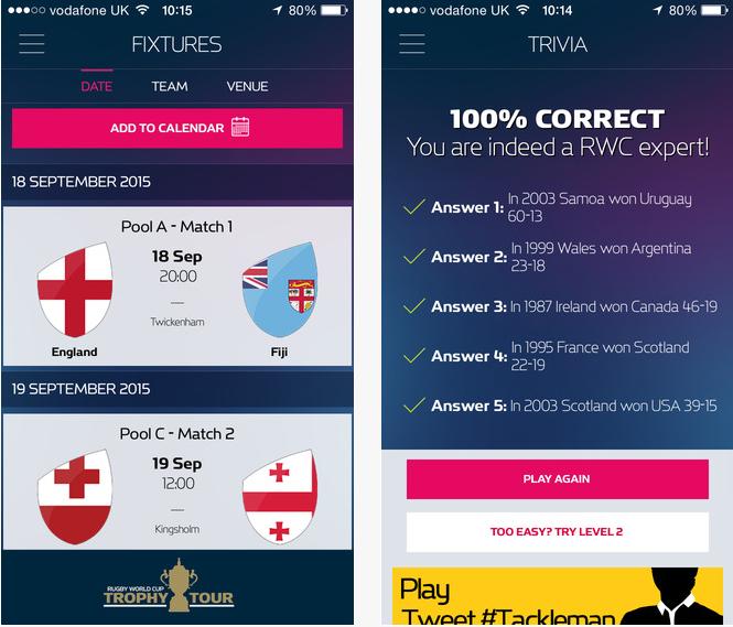 Capture d'écran Official Rugby World Cup 2015 IOS