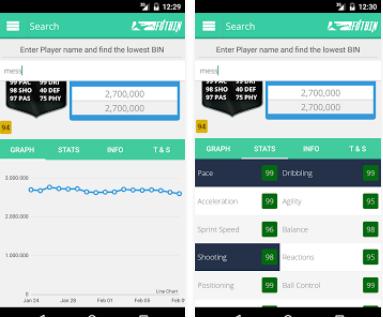 Capture d'écran Futbin Android