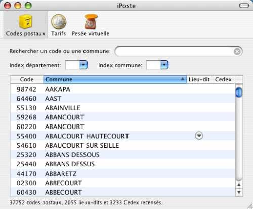Capture d'écran iPoste