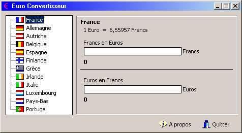 Capture d'écran Euro Convertisseur