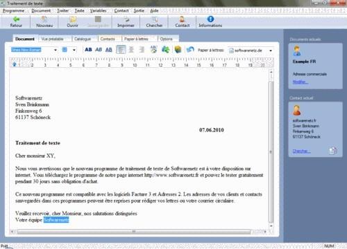 Capture d'écran Softwarenetz traitement de texte