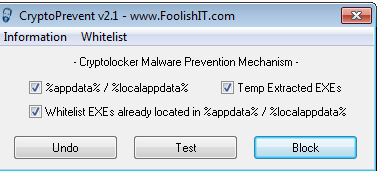 Capture d'écran Outil de prévention contre Cryptolocker: Cryptoprevent