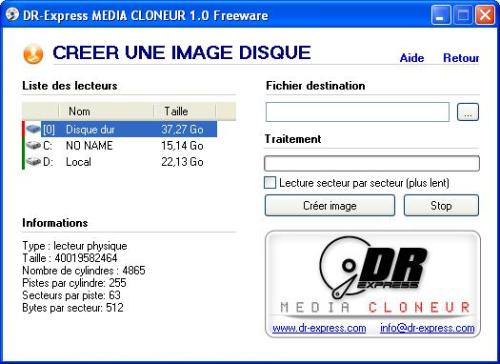 Capture d'écran DRExpress Media Cloneur