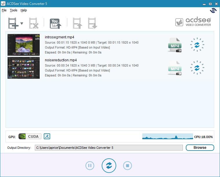 Capture d'écran ACDSee video converter