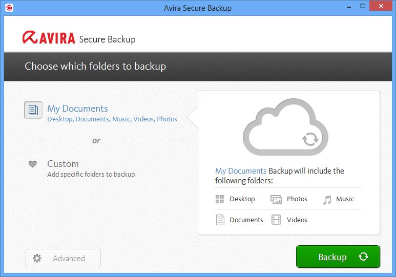 Capture d'écran Avira Secure Backup