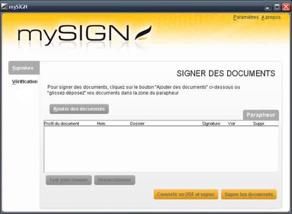 Capture d'écran mySIGN