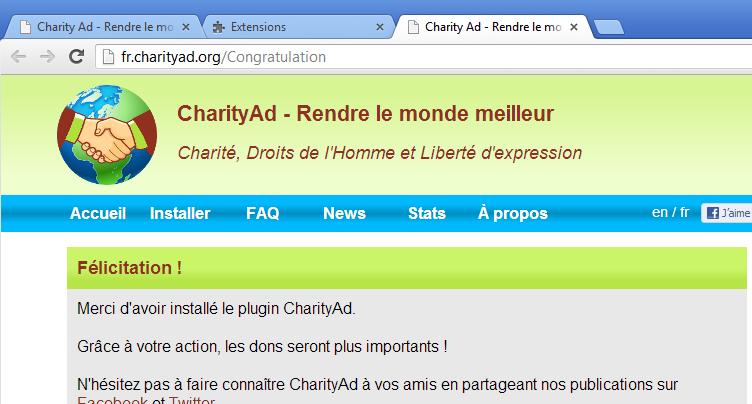 Capture d'écran CharityAd (FF & Chrome)