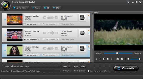 Capture d'écran Aiseesoft Convertisseur 3GP Gratuit