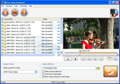Capture d'écran SoftPepper DVD to Zune Converter