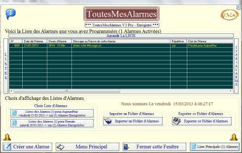Capture d'écran ToutesMesAlarmes V3Pro 3.1.0.180 2013