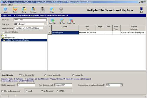 Capture d'écran Multiple File Search and Replace