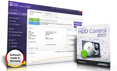 Capture d'écran Ashampoo HDD Control 2017