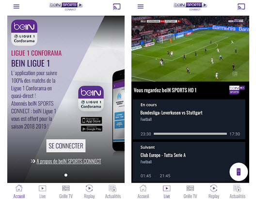 Capture d'écran beIN Sports Android