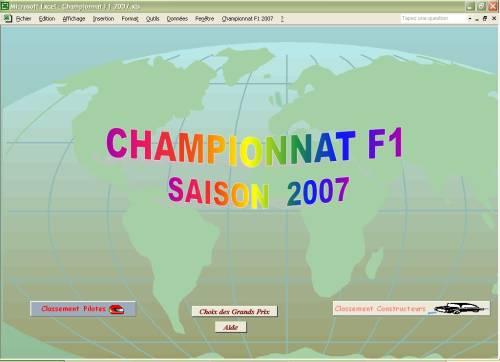 Capture d'écran Championnat F1 2007