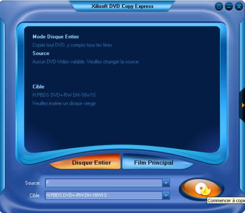 Capture d'écran Xilisoft Copie DVD