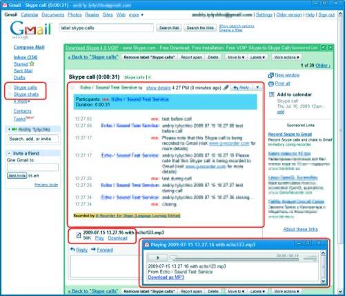 Capture d'écran G-Recorder – Record Skype to Gmail