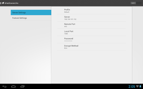 Capture d'écran Shadowsocks Android