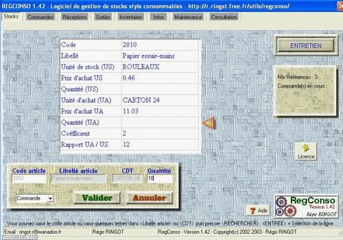 Capture d'écran RegConso