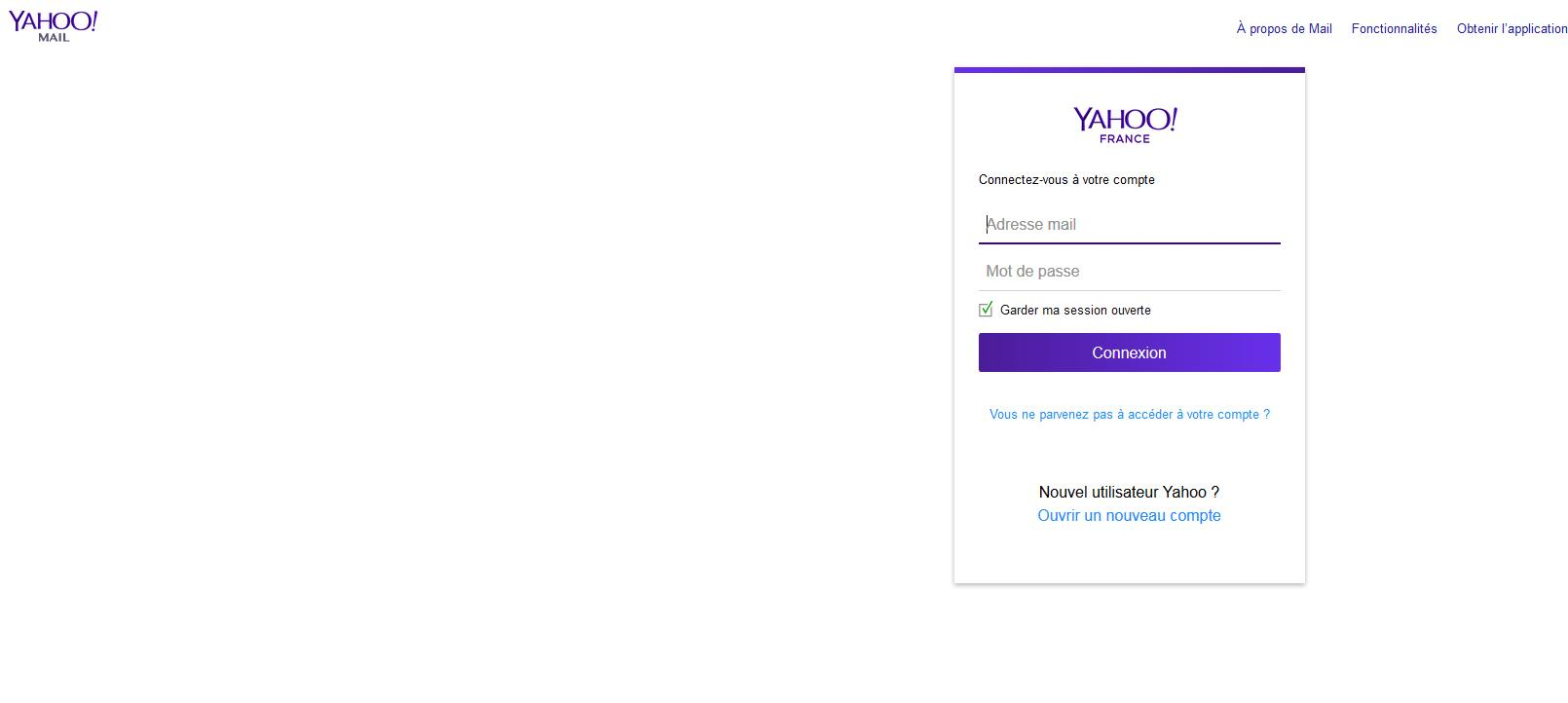 Capture d'écran Yahoo webmail