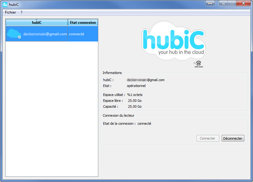 Capture d'écran hubiC