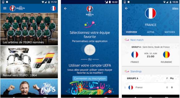Capture d'écran App officielle UEFA EURO 2016 iOS