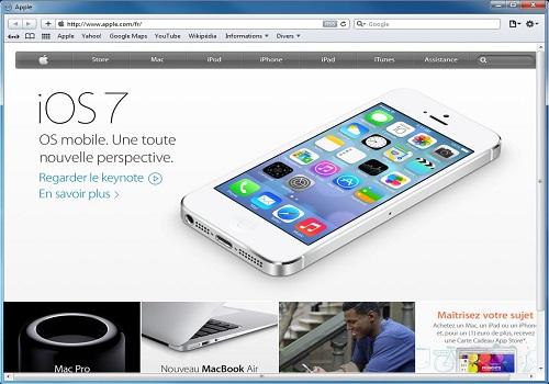 Capture d'écran Safari