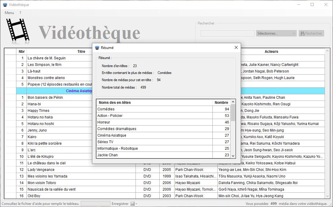 Capture d'écran Vidéothèque (MicSoft)