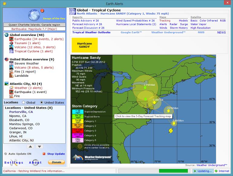 Capture d'écran Earth Alerts