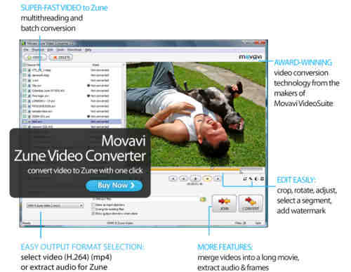 Capture d'écran Movavi Zune Video Converter