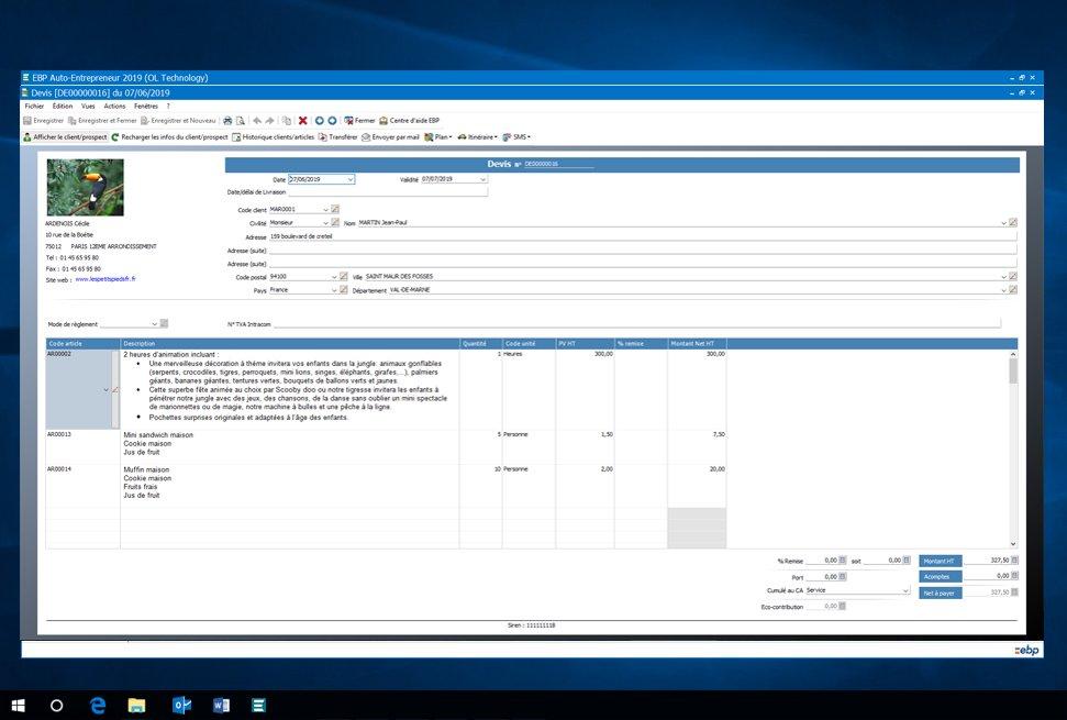Capture d'écran EBP Auto Entrepreneur 2021
