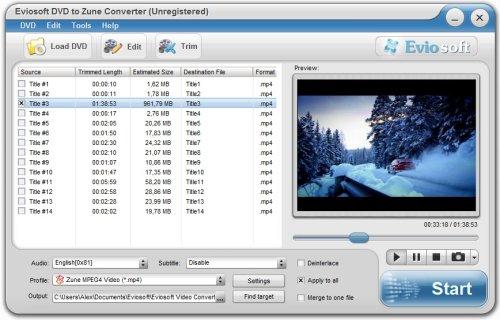 Capture d'écran Eviosoft DVD to Zune Converter