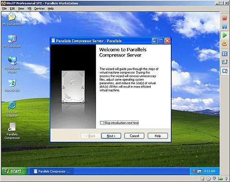 Capture d'écran Parallels Compressor Server for Linux