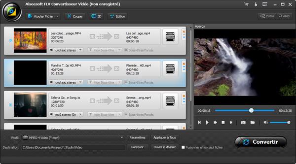 Capture d'écran Aiseesoft FLV Convertisseur Vidéo