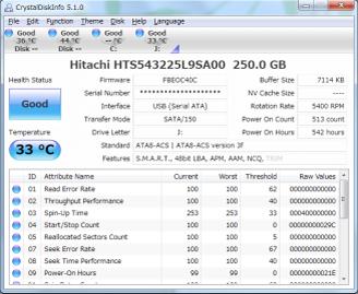 Capture d'écran Crystal Disk Info
