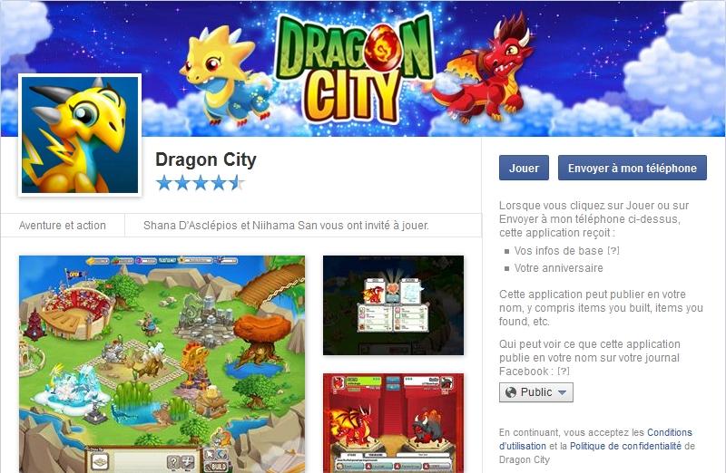 Capture d'écran Dragon City Facebook