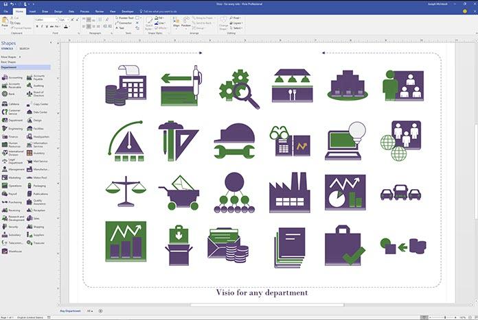 Capture d'écran Microsoft Visio Standard 2016