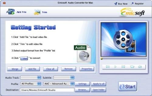 Capture d'écran Emicsoft Convertisseur Audio pour Mac