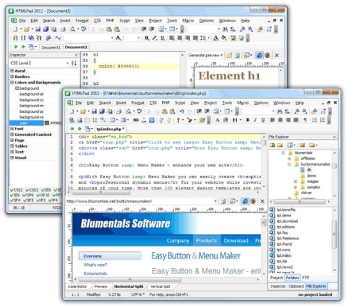 Capture d'écran HTMLPad 2011