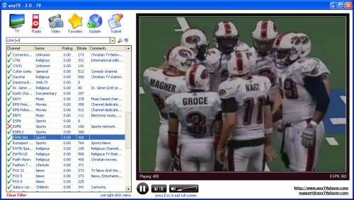 Capture d'écran anyTV Pro