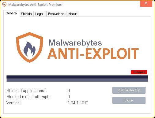 Capture d'écran Malwarebytes Anti-Exploit