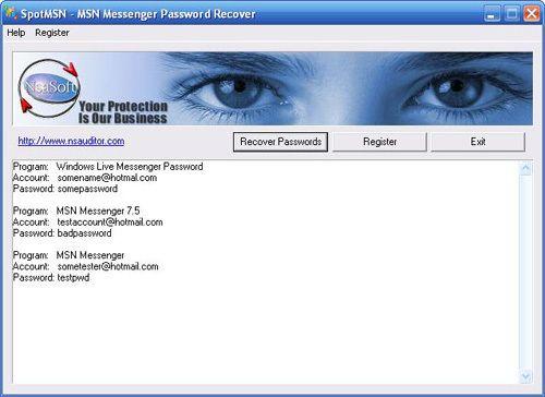 Capture d'écran SpotMSN Password Recover