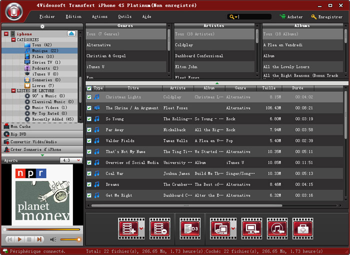 Capture d'écran 4Videosoft Transfert iPhone 4S Platinum