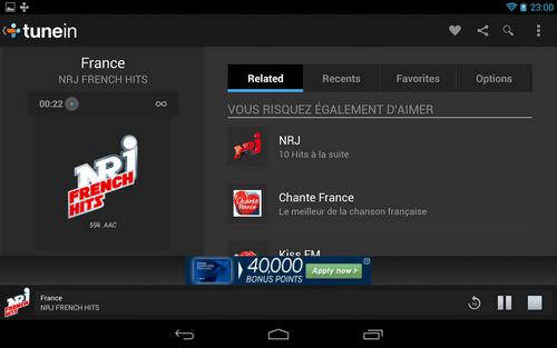 Capture d'écran TuneIn Radio Android