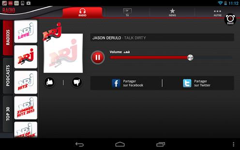Capture d'écran NRJ Belgique Tablette
