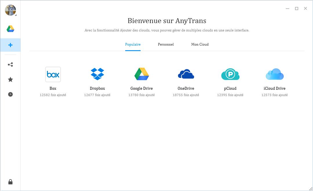 Capture d'écran AnyTrans pour Cloud